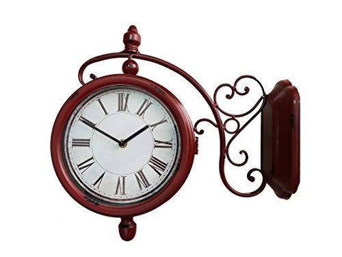 DynaSun Art Old Time Rosso 42x42x13.5 cm Orologio Stazione Doppio Quadrante da Parete in Metallo Vintage Stile Retro Decorazione Casa Soggiorno Cucina Effetto Anticato