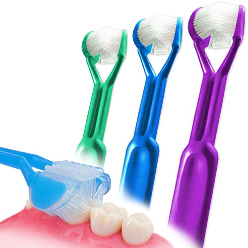 3-PK :: DenTrust 3-Sided Toothbrush :: Easily Brush Better :: Clinically Proven Results :: Fast, Easy & More Effective for The Whole Family :: Adults, Children, Special Needs, Autism ::