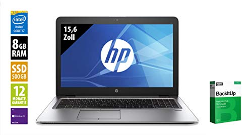 HP EliteBook 850 G3-15,6 Zoll - Core i7-6500U @ 2,5 GHz - 8GB RAM - 500GB SSD - FHD (1920x1080) - Webcam - Win10Pro (Zertifiziert und Generalüberholt)