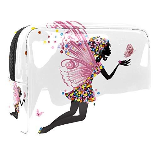 Bolso de Cosméticos ala de niña Mariposa Neceser de Viaje para Mujer y Niñas Organizador de Bolso Cosmético Accesorios de Viaje Estuche de Maquillaje 18.5x7.5x13cm
