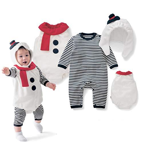 NUSGEAR 3 PCS Natale Costume Set Bambino Neonato Ragazza Ragazzo Babbo Pagliaccetto + Gilet + Cappello Partito del Vestito Pigiami da Regalo di Natale per La Famiglia