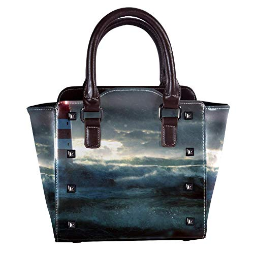 Top Handle Satchel Handbags Shoulder Bags for Women Ladies Leather Crossbody Bag with Glowing Lighthouse During Heavy Storm Pattern Tote Satchel Purse Messenger Hobo Handbag