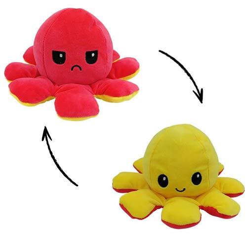 MORANGO Peluche Pulpo Reversible, Peluche de Juguete, Lindo Pulpo de Peluche, Flip Octopus Doble Cara, Juguetes Creativos, Muñeco Pulpo Doble Cara, muñeco Original de Felpa. (Amarillo/Rojo)