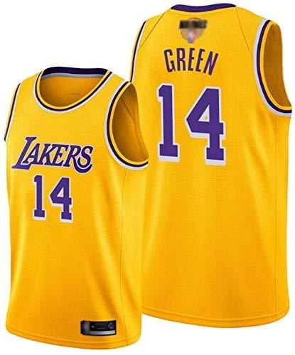 Camiseta de Baloncesto de los Hombres NBA Los Angeles Lakers 14# Green Ingram Cómodo/Ligero/Transpirable Malla Bordada Swing Swing Sworing Sworks Camisa de retrot,D,XXL