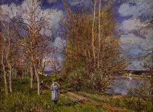 GFM Painting–Reproducción hecha a mano de pintura de aceite. Diseño color Small Meadows in spring–by 1881, pintura de aceite de Alfred Sisley