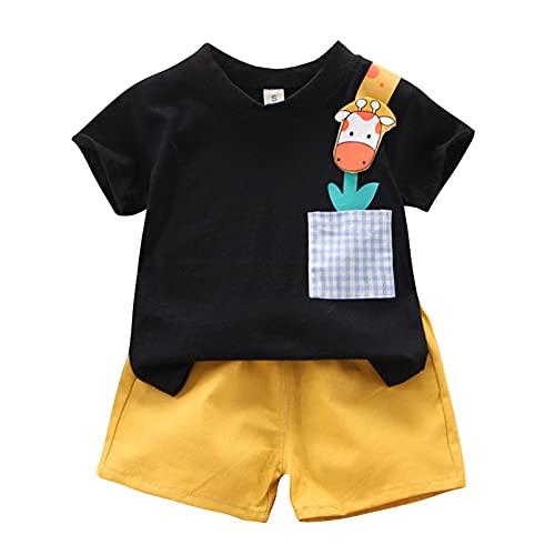 Briskorry Bekleidungsset Sommer Babykleidung Kinder Baby Jungen Cartoon Tier T-Shirt Weste Tops +Shorts Hosen Outfits Set Ärmelloses Sommerkleidung Kleidungsset Neugeborenen Baby Kleidung Set
