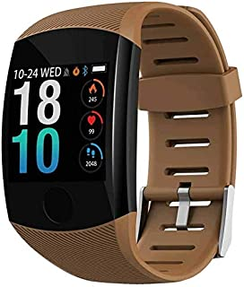 WJFQ Reloj Inteligente Impermeable SmartWatch rastreador de Ejercicios Reloj Pulsera Pantalla en Color de 1.3 for iOS Android for Niños Hombres Mujeres (Color : Brown Silicone)