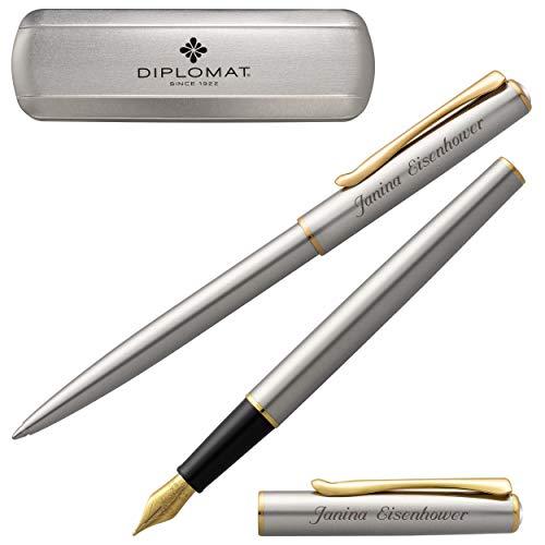 Diplomat Schreibset Traveller Edelstahl G.C. Kugelschreiber Füllfederhalter mit Laser-Gravur goldfarbene Beschläge