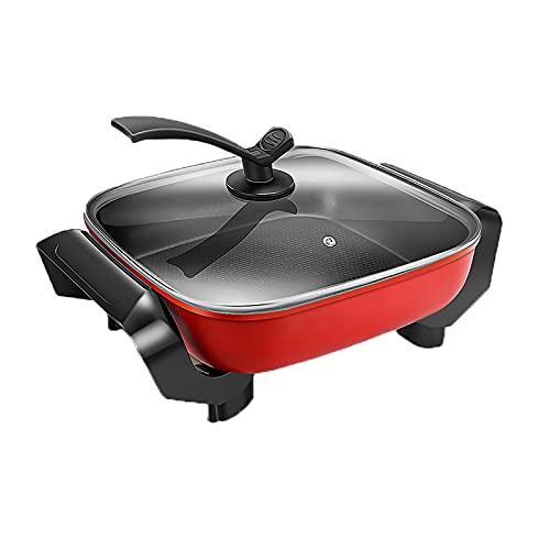 Elektrischer Grill-Kochtopf Multifunktions-Kochtopf Der elektrische Hot Pot verfügt über ein antihaftbeschichtetes Backgeschirr Geeignet für Fry Sauté Steam Simmer (Color : Red)