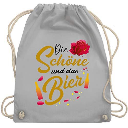 Shirtracer Party & Alkohol Damen - Die Schöne und das Bier - Rose - schwarz - Unisize - Hellgrau - Geschenk - WM110 - Turnbeutel und Stoffbeutel aus Baumwolle