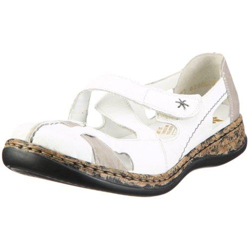 Rieker Damen 46367 Geschlossene Ballerinas, Weiß (weiss/grey/80), 42 EU