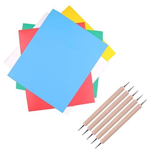 SUPVOX Carta Carbone trasferimento Carta Artigianale Carta Colorata Decalcomanie Stoffa e 5 Pezzi Stilo per Ricamo Gioco Fai da Te 10 Pezzi