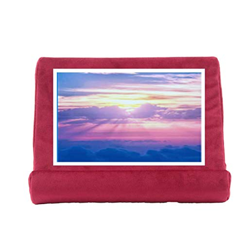 Tablet Stand Pillow Holder Multi-Angle Soft Tablet Pillow for Lap Plush Cellphone Pad Compter Holder for eReaders, Magazines, Kindle (Burgundy)