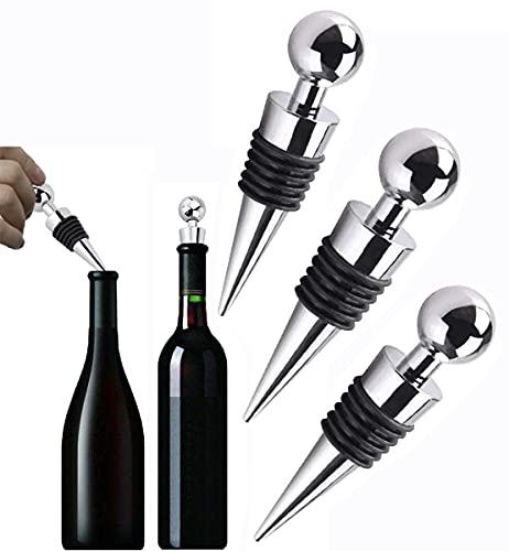 Set di 3 tappi per bottiglie di vino, tappo per bottiglia di vino, tappo in acciaio inox, per la raccolta di vino, birra e champagne