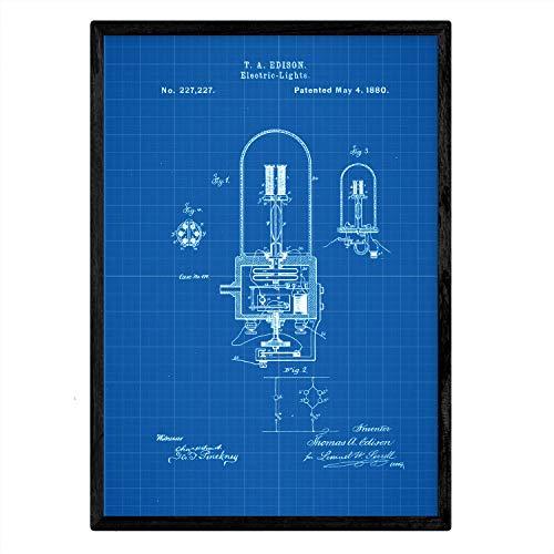 Poster Nacnic Patent elektrische lamp 2e plaat met oud design patent in A3-formaat met blauwe achtergrond