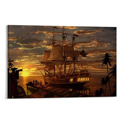 GDFG Póster de barco pirata de fantasía, 4 K, alta definición, impresión artística de pared, póster moderno para decoración de dormitorio familiar, 20 x 30 cm