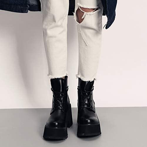 Shukun Botines Street Style Cool Muffin Loco-Suela Gruesa Punk Martin Knight Stiefel de damen schuhe