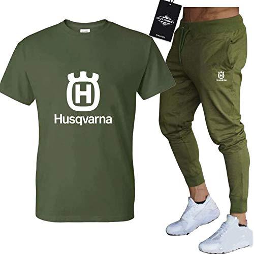 Jasmin Busse Conjunto de Chándal de Dos Piezas para Husqv-arn.a.s Adecuados Mangas Corto a Rayas + Pantalones Largo para Hombre y Mujer C/Green/S