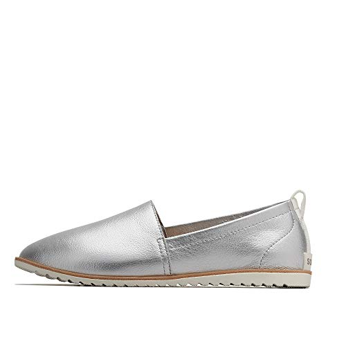 Sorel - Women's Ella Slip On Leather Shoes, Pure Silver, 8.5 M US