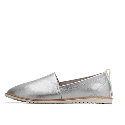 Sorel - Women's Ella Slip On Leather Shoes, Pure Silver, 8 M US