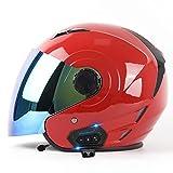 Casco Moto Jet Con Bluetooth Integrado ECE Homologado Cascos Half-Helmet Medio Abierto Casco De Moto Con Visera De Color Certificación DOT Casco De Motocicleta Para Hombre Mujer Red,S