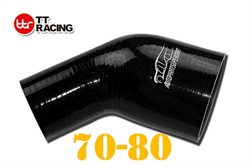 4-ply Silicone Joiner 45 Degree Bend Reducer Elbow Turbo Hose Black 70mm - 80mm (2.75' - 3.15')
