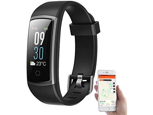 Newgen Medicals Fitnessarmband Blutdruck: Fitness-Armband mit Puls- & Blutdruck-Anzeige, App, Farb-Display, IP68 (Smartwatch Streckenaufzeichnung)