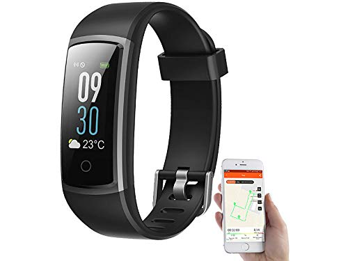 Newgen Medicals Smart Uhren: Fitness-Armband mit Puls- & Blutdruck-Anzeige, App, Farb-Display, IP68 (Fitnessarmband Blutdruck)