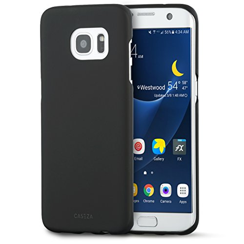 """Cover Galaxy S7 Edge Nera - CASEZA""""Rio"""" Custodia Case Posteriore Ultra Sottile con Finitura in Gomma Opaca - Protettiva Gommata Rigida - Aspetto e Sensazione di Qualità per Samsung S7 Edge Originale"""
