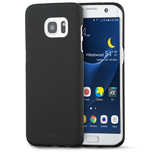Cover Galaxy S7 Edge Nera - CASEZA'Rio' Custodia Case Posteriore Ultra Sottile con Finitura in Gomma Opaca - Protettiva Gommata Rigida - Aspetto e Sensazione di Qualità per Samsung S7 Edge Originale