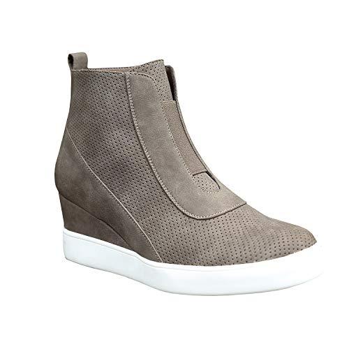 Erneut Damen Keilabsatz Plateau Sneaker Stiefeletten Ankle Boot Kunstleder Freizeitschuhe mit Reißverschluss (37 EU, B-Kaffee)