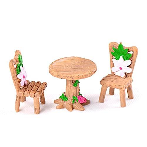 PPuujia 3 Stück/Set Tisch Stuhl Harz Handwerk Mikro-Landschaft Ornament Feengarten Miniatur-Terrarium Figur Bonsai Dekoration (Farbe: Stil 001)