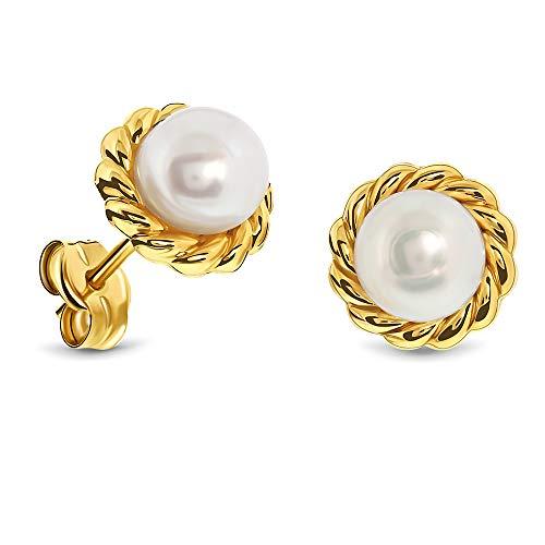 Miore Ohrringe Damen Ohrstecker Gelbgold 9 Karat / 375 Gold Süßwasserperlen