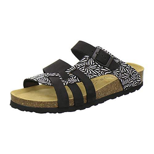 AFS-Schuhe 2122 Damen Pantoletten aus echtem Leder, hochwertige Hausschuhe für Frauen mit Eva-Sohle, Made in Germany (37 EU, schwarz)