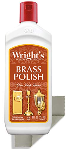 Wright's Brass and Copper Polish and Cleaner - 8 Ounce with Polishing Cloth - Gently Cleans and Removes Tarnish Without Scratching