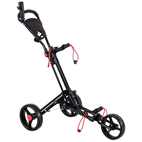 GOPLUS 3 Räder Golftrolley, Golfball Set aus Aluminium, Klappbarer Golf Wagenzum Schieben und Ziehen, Golf Cart mit Abschließbarem Rad, Verstellbarem Griff