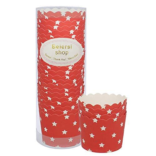 Beiersi Caissette Cupcake Papier Moule Muffin Caissette Muffins pour Imperméable Aux Graisses Aux Gâteaux Decoration Mariage et Festivités Lot de 24 (Rouge)