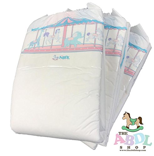 Carousel Printed Adult Diapers ABDL 10 Pack (Large)