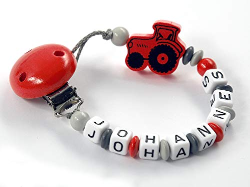 Schnullerkette mit Namen - Herz, Auto, Eule, Lok, Trecker, Stern für Junge und Mädchen (Trecker rot)