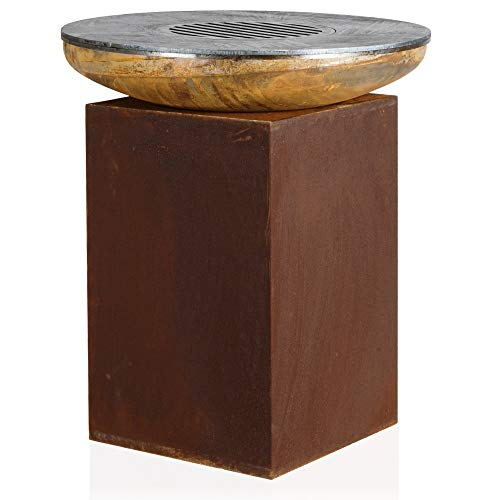 BBQ-Toro Feuerschale mit Grillring | Ø 82 cm | Feuerstelle mit Grillplatte und Grillrost | Rostfeuerschale mit Feuerplatte, Feuerring, Plancha