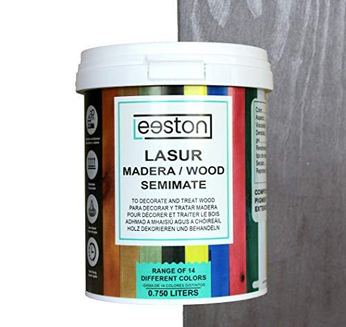 Pintura lasur para maderas, tratamiento para exterior e interior, fácil aplicación y limpieza gracias a su base al agua, acción protectora a largo tiempo, 14 colores (0,75 L, Negro)