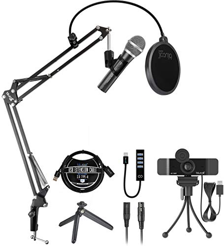 Audio-Technica ATR2100X-USB Cardioid Dynamic Microphone for Windows and Mac Bundle with Blucoil 1080p USB Webcam, Boom Arm Plus Pop Filter, USB-A Mini Hub, and 3-FT USB 2.0 Type-A Extension Cable