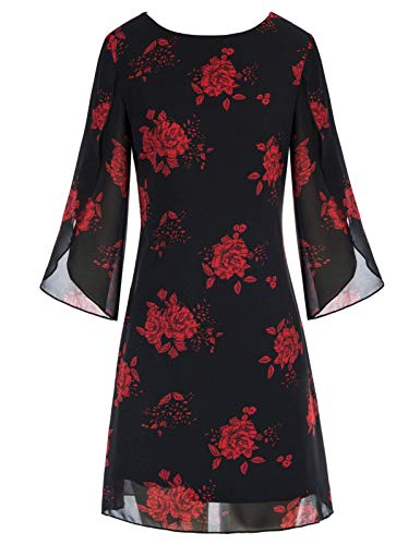 Women 3/4 Sleeve Loose Formal Evening Ball Gown Midi Cocktail Dresses Floral-4 XL