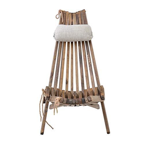 Silla plegable de madera maciza al aire libre, silla de descanso con almohada y cojín, muebles de exterior Silla de playa, terraza plegable Balcón Silla ,Mejora la comodidad y la productividad