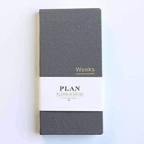 Libro de pensamiento -Classic Planificador Tapa dura escuela de la oficina Planificador semanal Cuadernos Agenda de escritorio organizador personal, Tamaño: A6 18.9x9.4cm (gris) diario