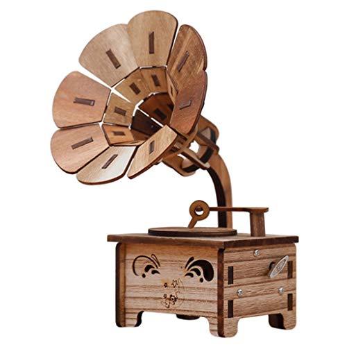 ZRJ Bonita Creativa del fonógrafo Cajas Musicales de Bricolaje de música de Madera Caja de Madera Crafts Retro del Regalo de cumpleaños decoración de los Accesorios Moda