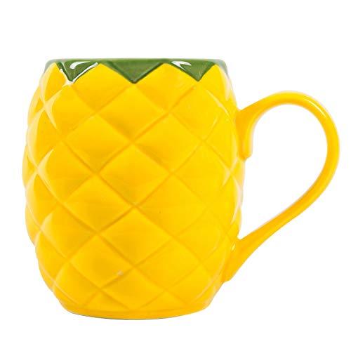 el & groove Ananas 3D Tasse groß gelb aus hochwertigem Porzellan, Mit 500ml Füllvolumen ideal für Cocktails,Pineapple Becher, Pool Cocktailparty Becher, Ananas Deko Geschenkidee Weihnachstgeschenk