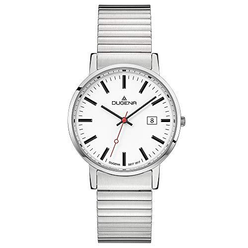 Dugena Herren Quarz-Armbanduhr, Elastisches Zugband, Gehärtetes Mineralglas, Moma Comfort, Silber/Weiß, 4460749