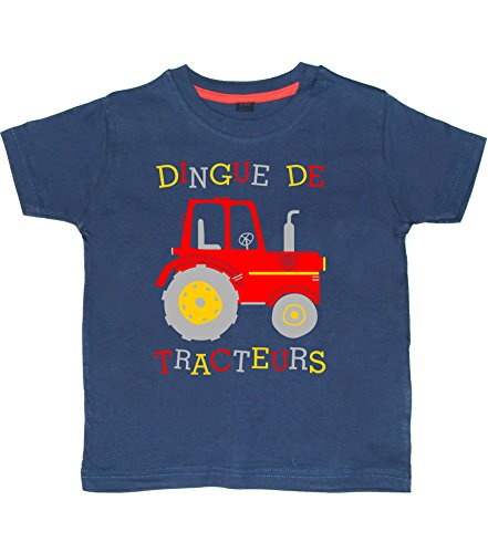 2-3 Ans Bleu Marine Tee Shirt Dingue de Tracteur Design 3 with Red, Yellow & Silver Print