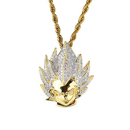 Moca Jewelry - Colgante de bola de dragón goku con cadena de diamantes de imitación chapado en oro de 18 quilates para hombres y mujeres
